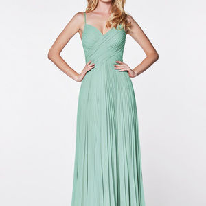Sage A-Line Shape Long Evening Dress CD7471